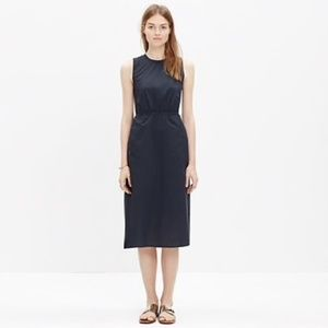 Madewell Sleeveless Navy Cotton Midi Dress C6261